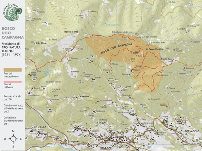 Cartina del Bosco Ugo Campagna - Coazze