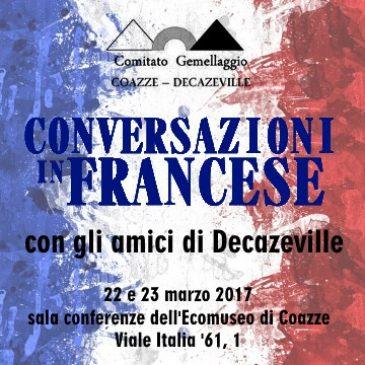 """Martedì 22 e mercoledì 23 marzo: conversazione in francese con il comitato """"Gemellaggio Coazze – Decazeville"""""""