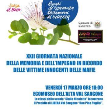 Venerdì 17 marzo: Incontro con i ragazzi delle scuole medie e LIBERA Val Sangone
