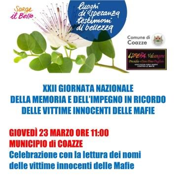 Giovedì 23 marzo: XXIII Gionata Nazionale in Ricordo delle Vittime Innocenti delle Mafie