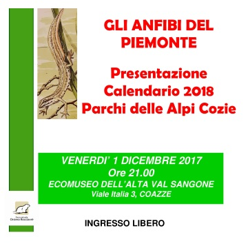 Venerdì 1 dicembre – Presentazione Calendario 2018 Parco Alpi Cozie