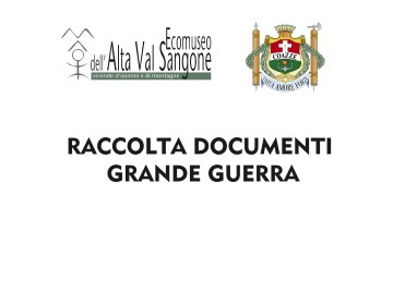 Raccolta documenti Grande Guerra